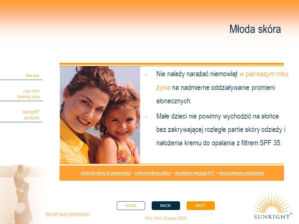Młoda skóra Nie należy narażać niemowląt w pierwszym roku życia na nadmierne oddziaływanie promieni słonecznych.