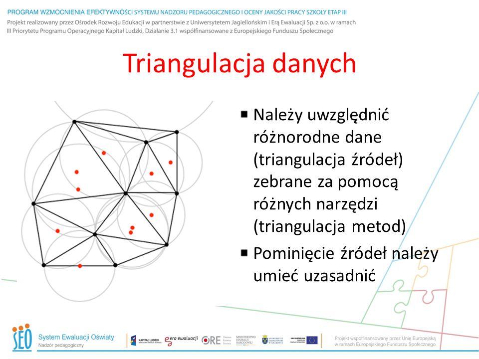 Triangulacja danych Należy uwzględnić różnorodne dane (triangulacja źródeł) zebrane za pomocą różnych narzędzi (triangulacja metod)