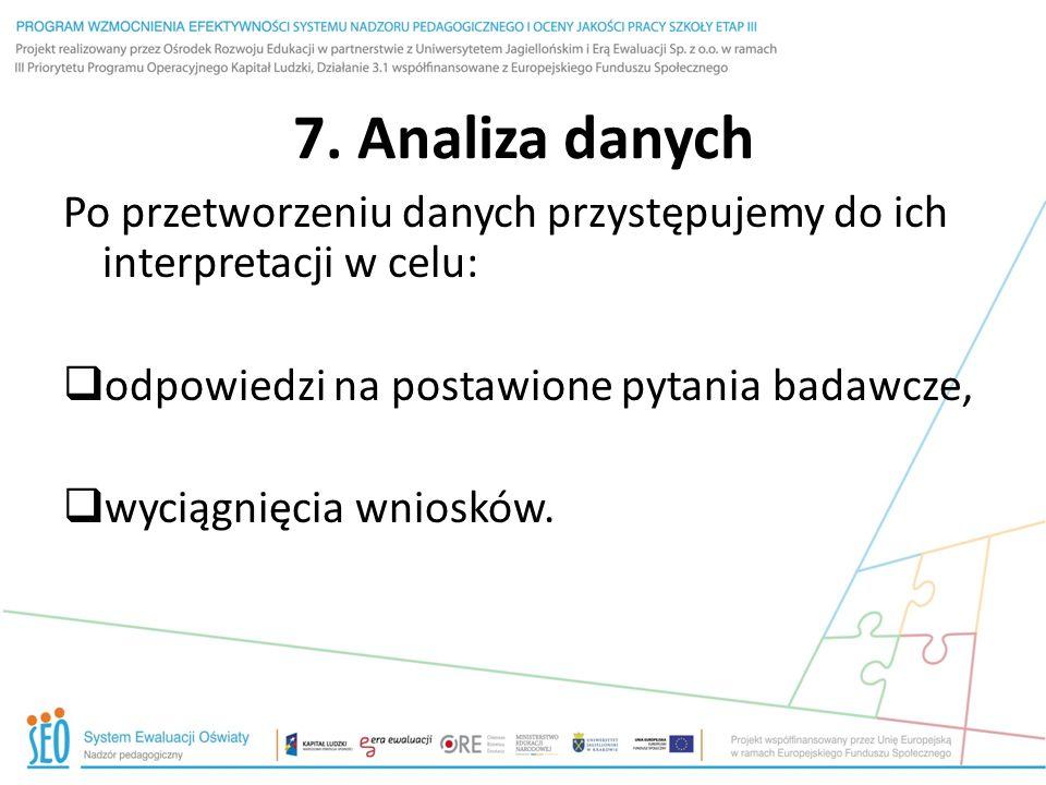 7. Analiza danych Po przetworzeniu danych przystępujemy do ich interpretacji w celu: odpowiedzi na postawione pytania badawcze,