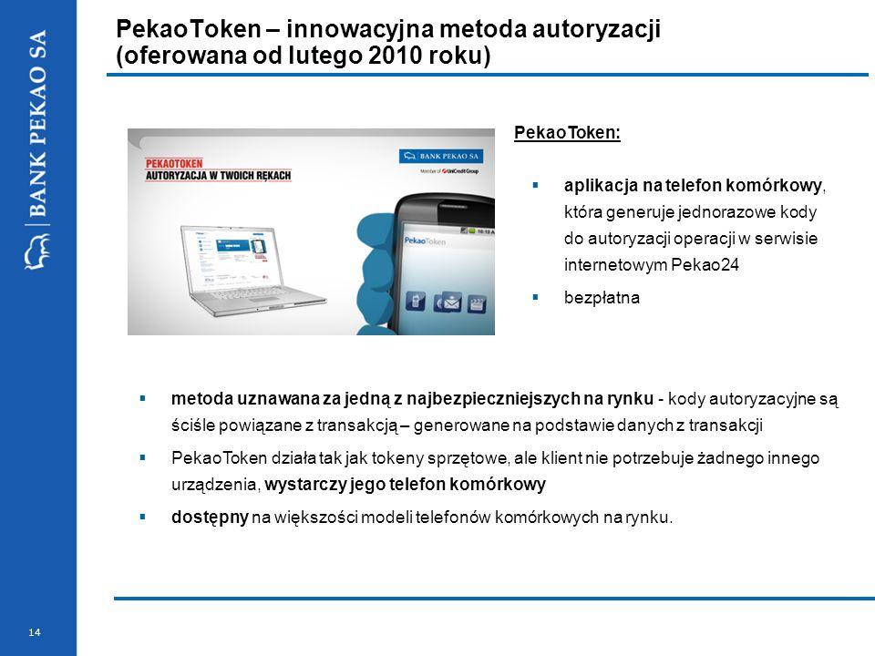 PekaoToken – innowacyjna metoda autoryzacji (oferowana od lutego 2010 roku)