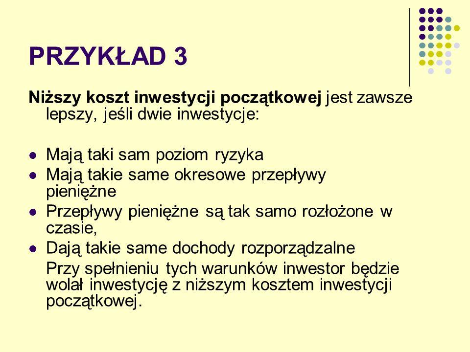 PRZYKŁAD 3 Niższy koszt inwestycji początkowej jest zawsze lepszy, jeśli dwie inwestycje: Mają taki sam poziom ryzyka.