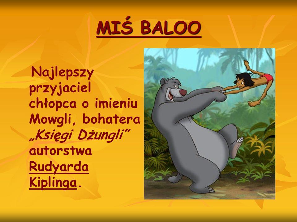 """MIŚ BALOO Najlepszy przyjaciel chłopca o imieniu Mowgli, bohatera """"Księgi Dżungli autorstwa Rudyarda Kiplinga."""