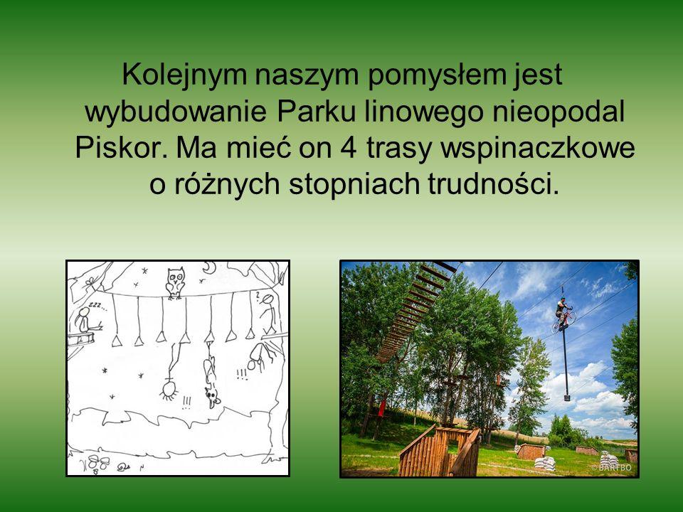 Kolejnym naszym pomysłem jest wybudowanie Parku linowego nieopodal Piskor.