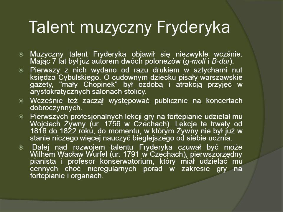 Talent muzyczny Fryderyka