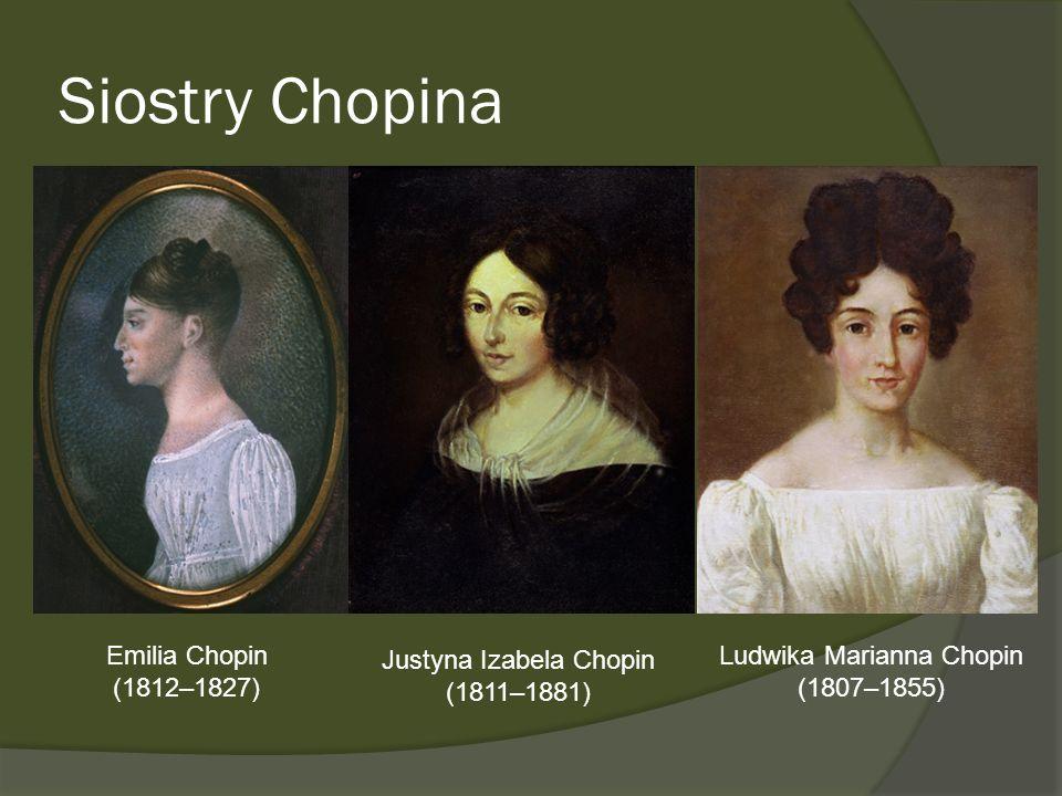 Siostry Chopina Emilia Chopin (1812–1827) Justyna Izabela Chopin