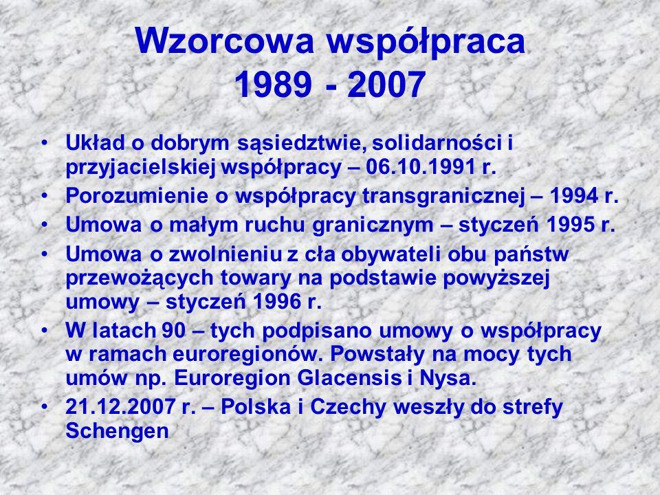 Wzorcowa współpraca 1989 - 2007 Układ o dobrym sąsiedztwie, solidarności i przyjacielskiej współpracy – 06.10.1991 r.