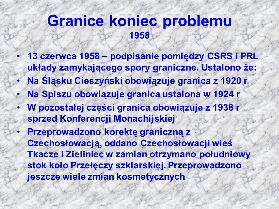 Granice koniec problemu 1958