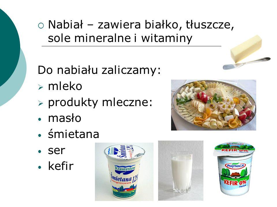 Nabiał – zawiera białko, tłuszcze, sole mineralne i witaminy