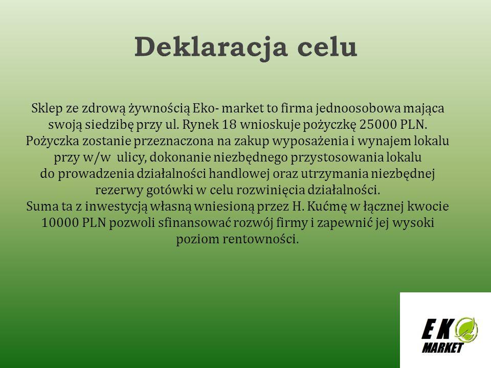 Deklaracja celu Sklep ze zdrową żywnością Eko- market to firma jednoosobowa mająca swoją siedzibę przy ul. Rynek 18 wnioskuje pożyczkę 25000 PLN.