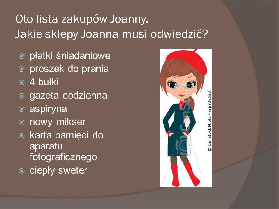 Oto lista zakupów Joanny. Jakie sklepy Joanna musi odwiedzić
