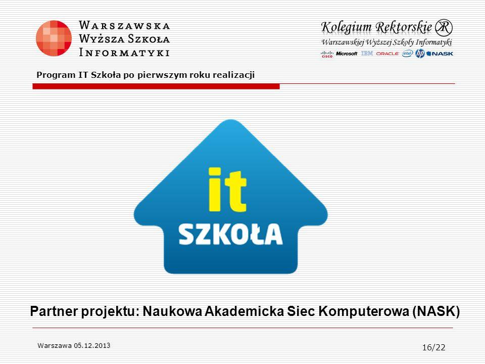 Partner projektu: Naukowa Akademicka Siec Komputerowa (NASK)