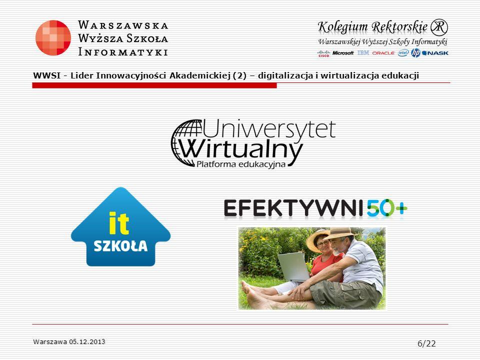 WWSI - Lider Innowacyjności Akademickiej (2) – digitalizacja i wirtualizacja edukacji