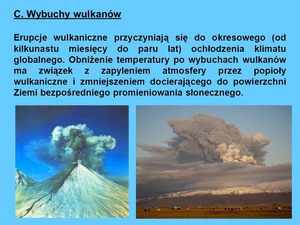 C. Wybuchy wulkanów