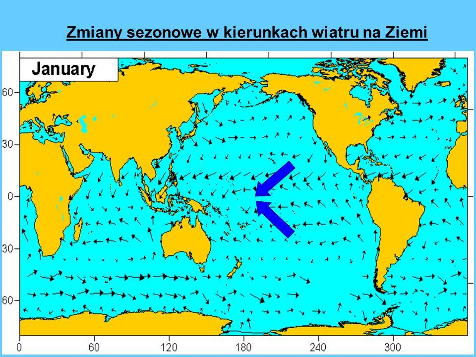Zmiany sezonowe w kierunkach wiatru na Ziemi