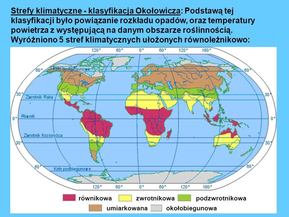 Strefy klimatyczne - klasyfikacja Okołowicza: Podstawą tej klasyfikacji było powiązanie rozkładu opadów, oraz temperatury powietrza z występującą na danym obszarze roślinnością. Wyróżniono 5 stref klimatycznych ułożonych równoleżnikowo:
