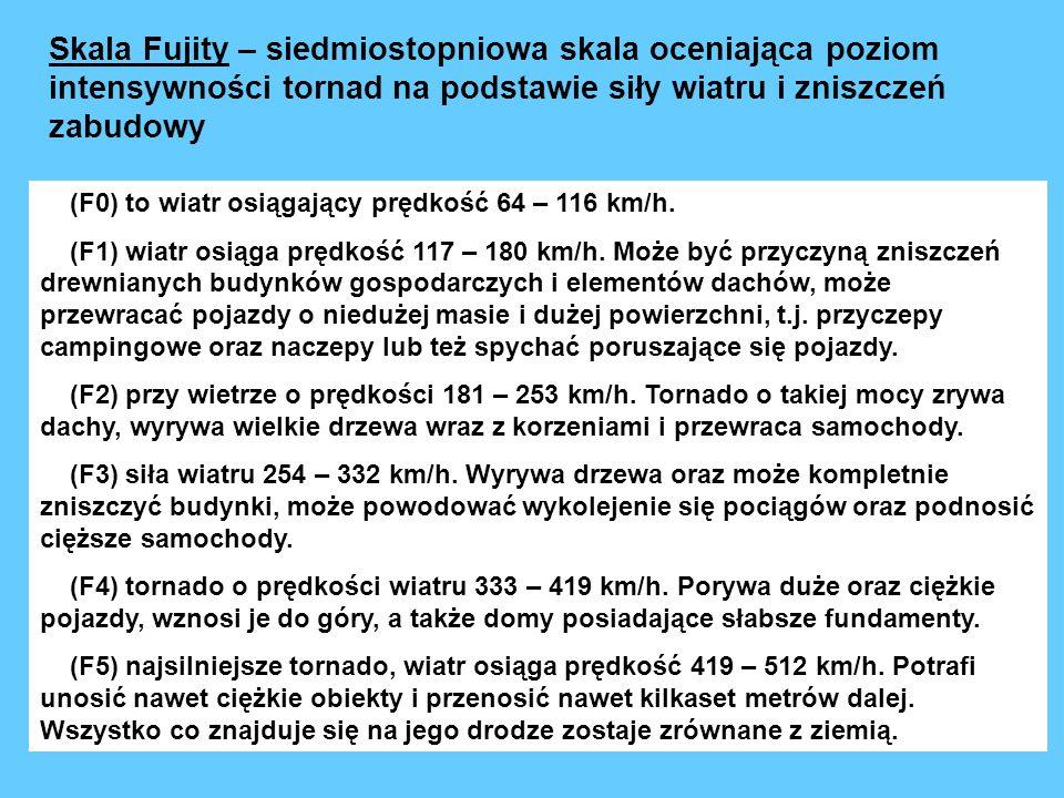 Skala Fujity – siedmiostopniowa skala oceniająca poziom intensywności tornad na podstawie siły wiatru i zniszczeń zabudowy