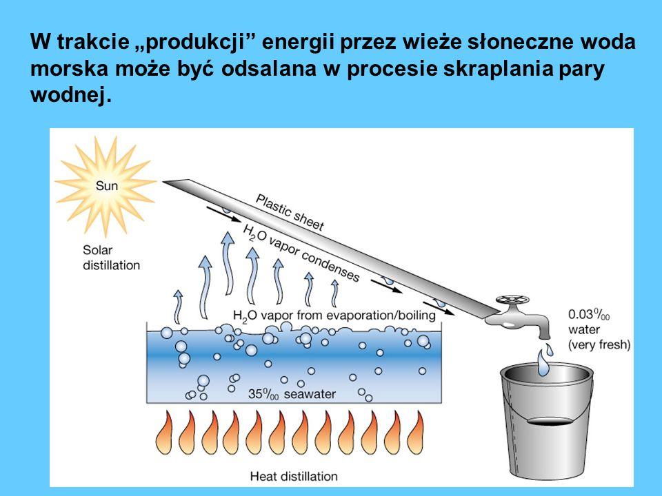 """W trakcie """"produkcji energii przez wieże słoneczne woda morska może być odsalana w procesie skraplania pary wodnej."""