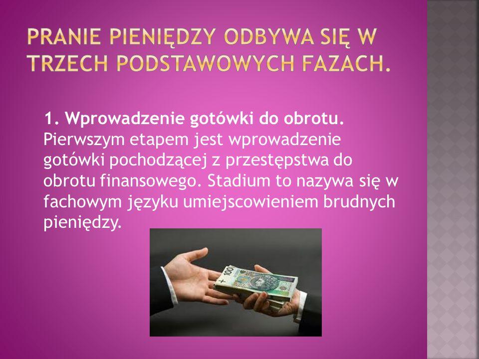 Pranie pieniędzy odbywa się w trzech podstawowych fazach.