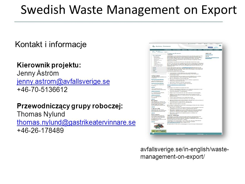 Swedish Waste Management on Export