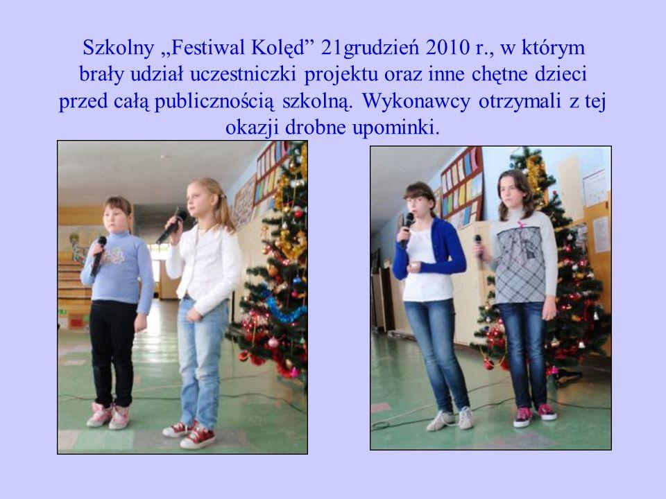 """Szkolny """"Festiwal Kolęd 21grudzień 2010 r"""