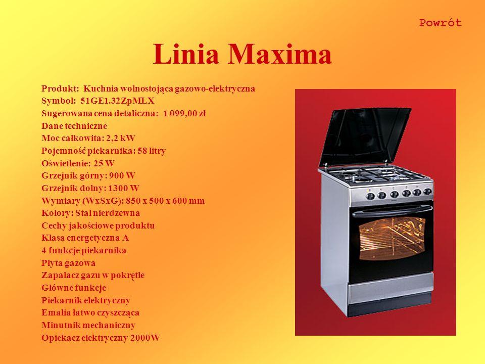 Linia Maxima Powrót Produkt: Kuchnia wolnostojąca gazowo-elektryczna
