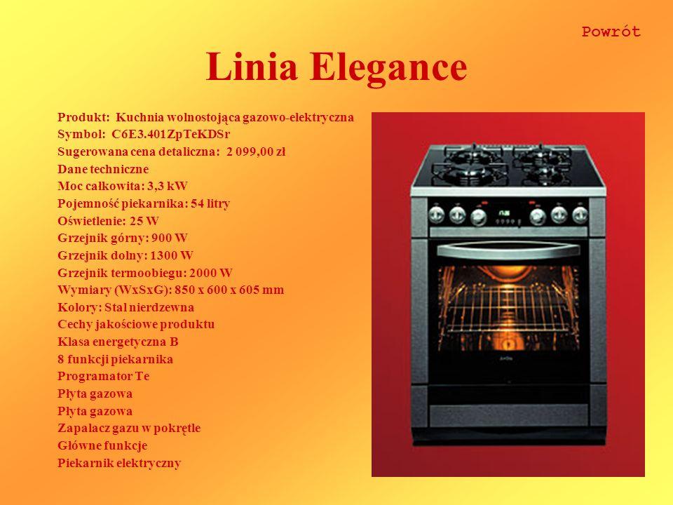 Linia Elegance Powrót Produkt: Kuchnia wolnostojąca gazowo-elektryczna