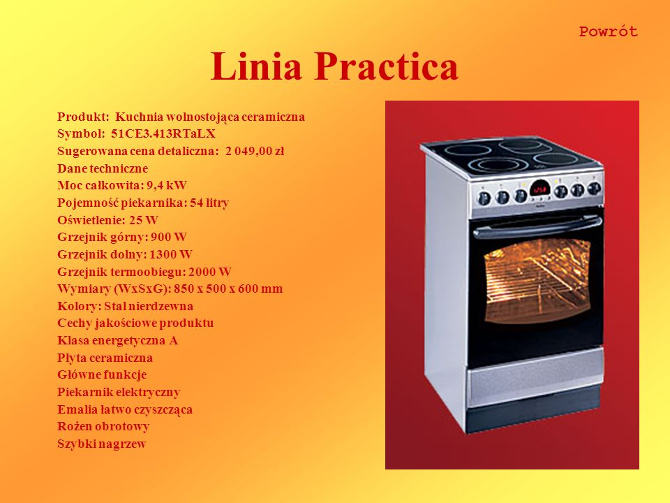 Linia Practica Powrót Produkt: Kuchnia wolnostojąca ceramiczna