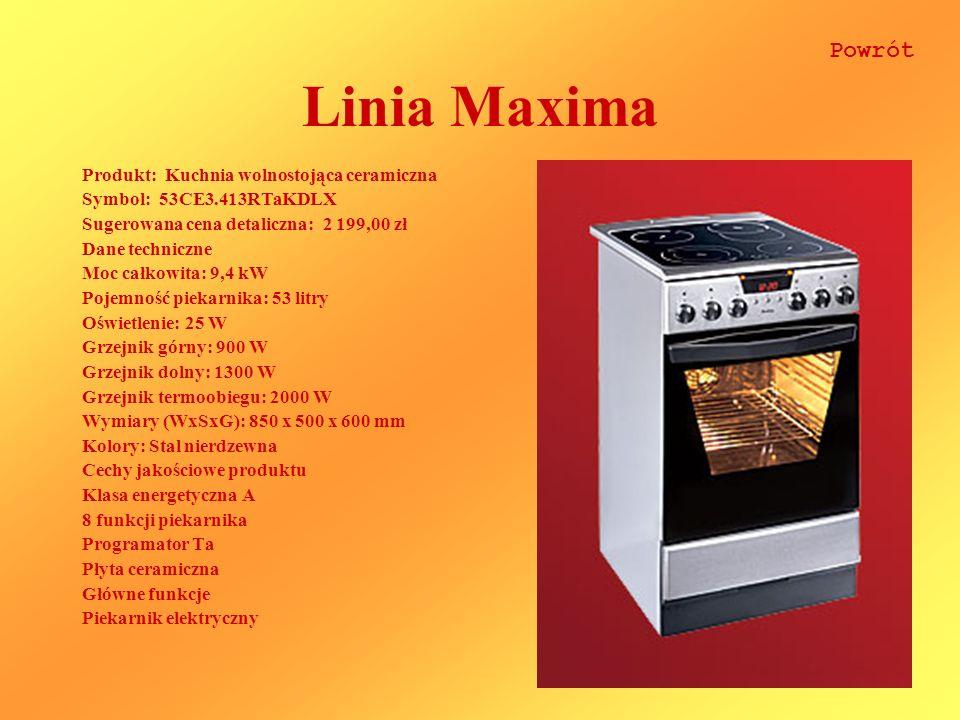 Linia Maxima Powrót Produkt: Kuchnia wolnostojąca ceramiczna