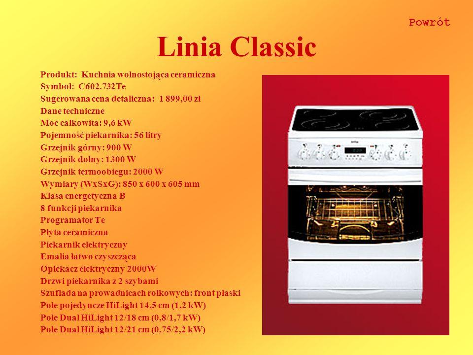 Linia Classic Powrót Produkt: Kuchnia wolnostojąca ceramiczna