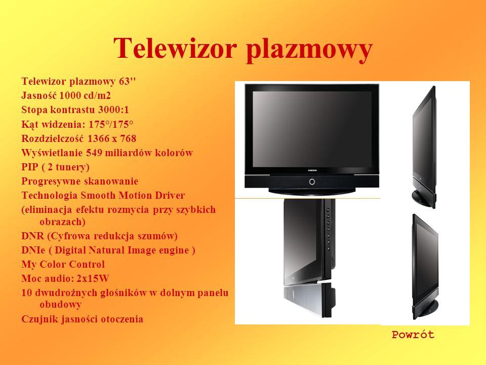 Telewizor plazmowy Powrót Telewizor plazmowy 63 Jasność 1000 cd/m2