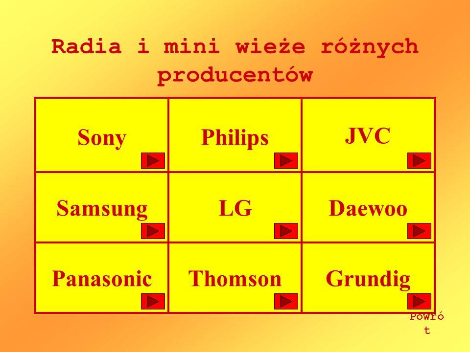 Radia i mini wieże różnych producentów