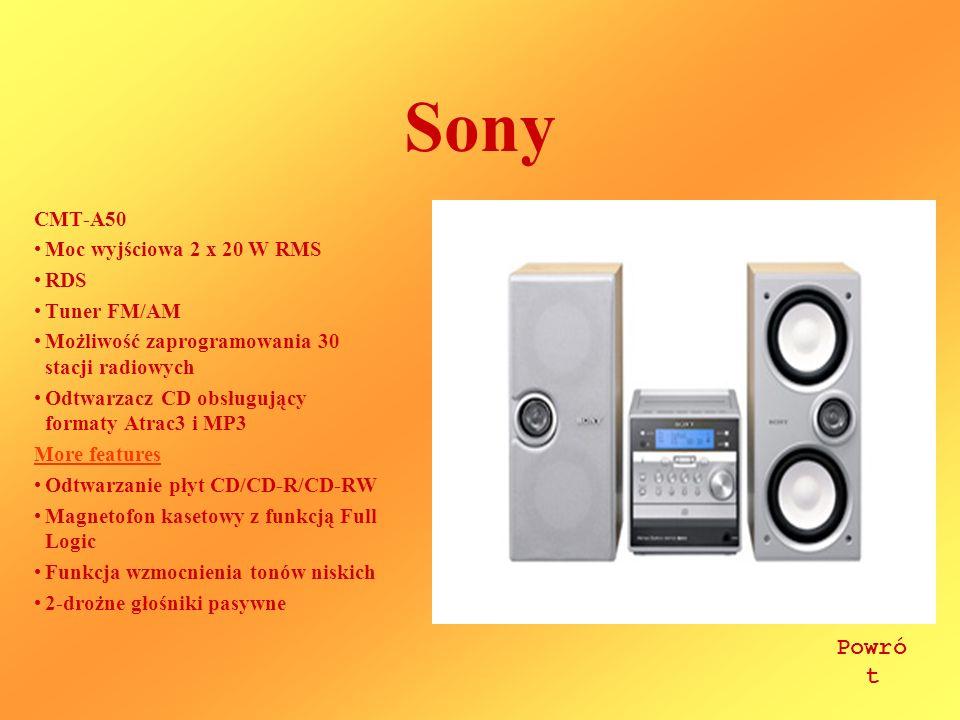 Sony Powrót CMT-A50 Moc wyjściowa 2 x 20 W RMS RDS Tuner FM/AM