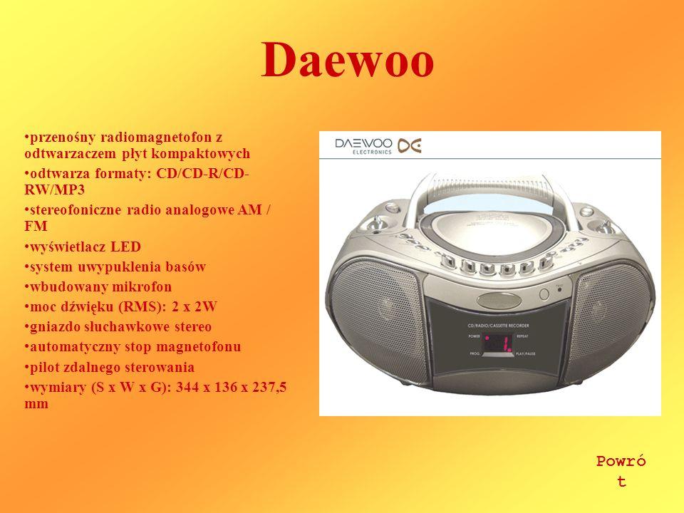 Daewoo przenośny radiomagnetofon z odtwarzaczem płyt kompaktowych. odtwarza formaty: CD/CD-R/CD-RW/MP3.