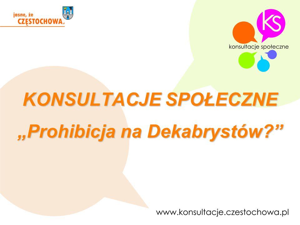 """KONSULTACJE SPOŁECZNE """"Prohibicja na Dekabrystów"""