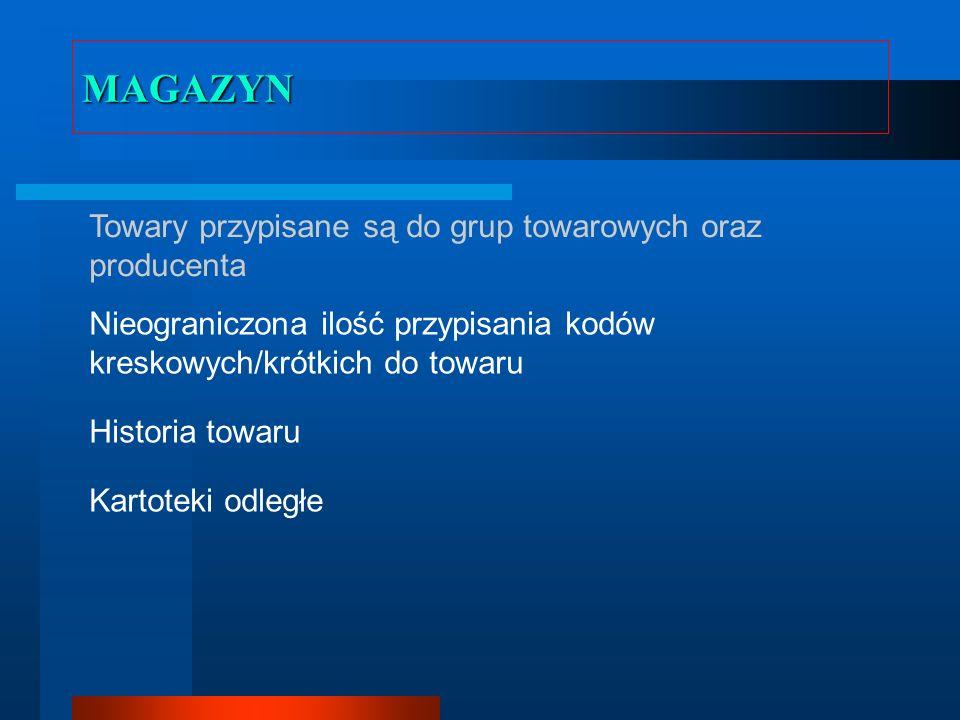 MAGAZYN Towary przypisane są do grup towarowych oraz producenta