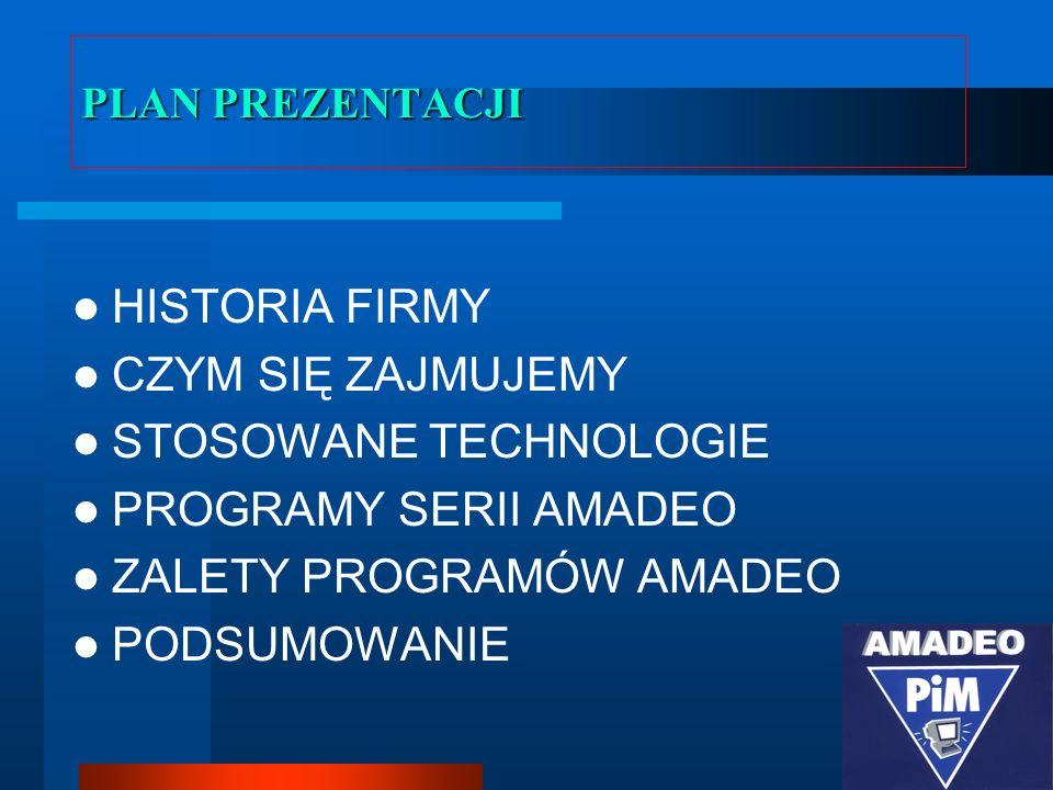 STOSOWANE TECHNOLOGIE PROGRAMY SERII AMADEO ZALETY PROGRAMÓW AMADEO