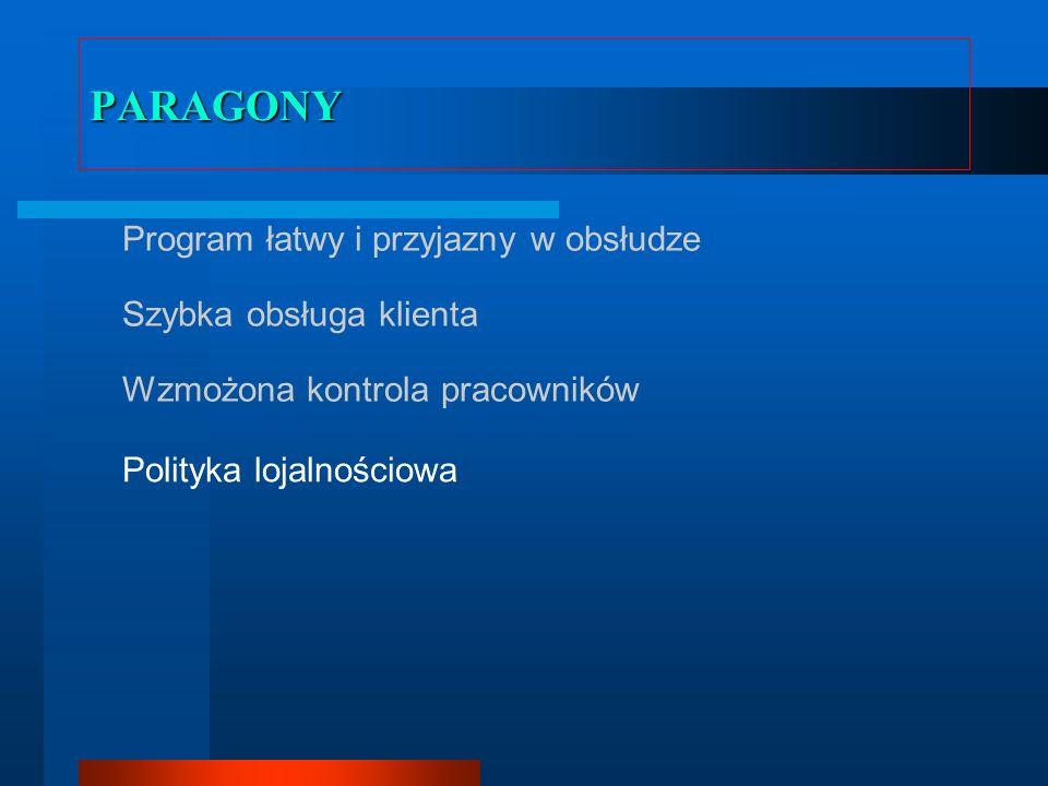 PARAGONY Program łatwy i przyjazny w obsłudze Szybka obsługa klienta