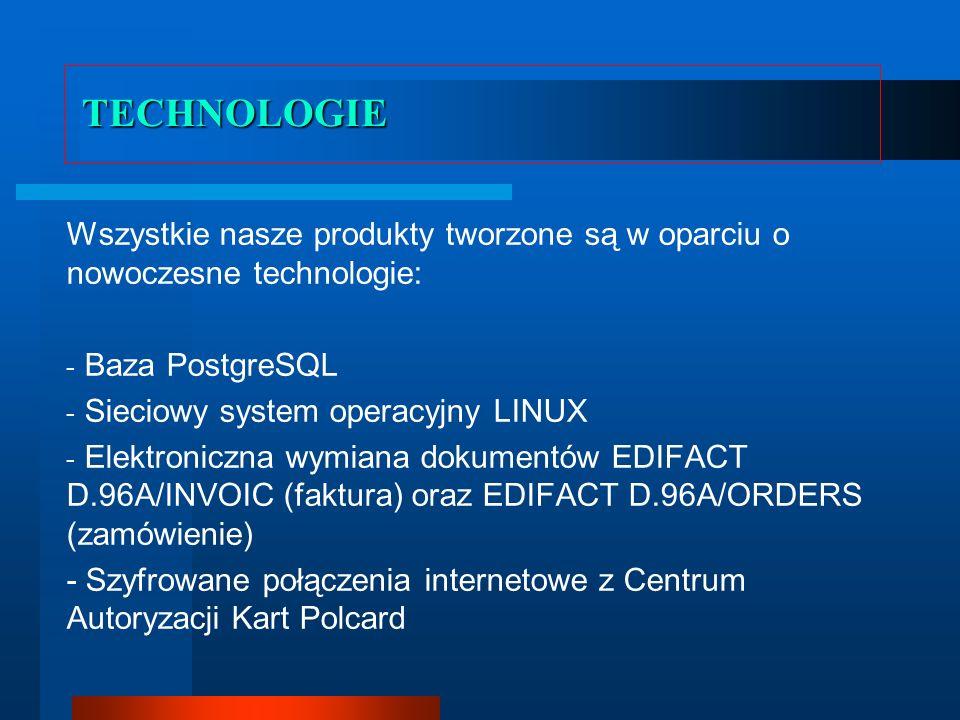 TECHNOLOGIE Wszystkie nasze produkty tworzone są w oparciu o nowoczesne technologie: Baza PostgreSQL.