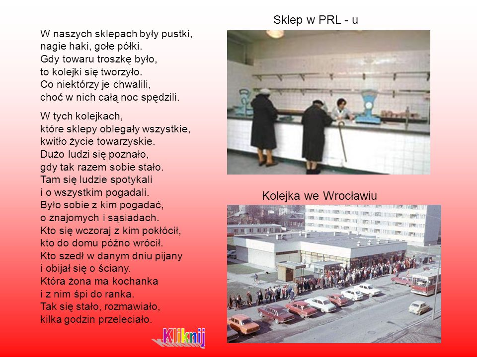 Kliknij Sklep w PRL - u Kolejka we Wrocławiu