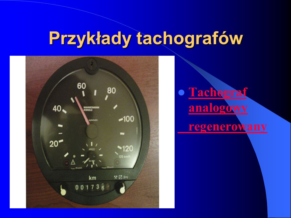 Przykłady tachografów