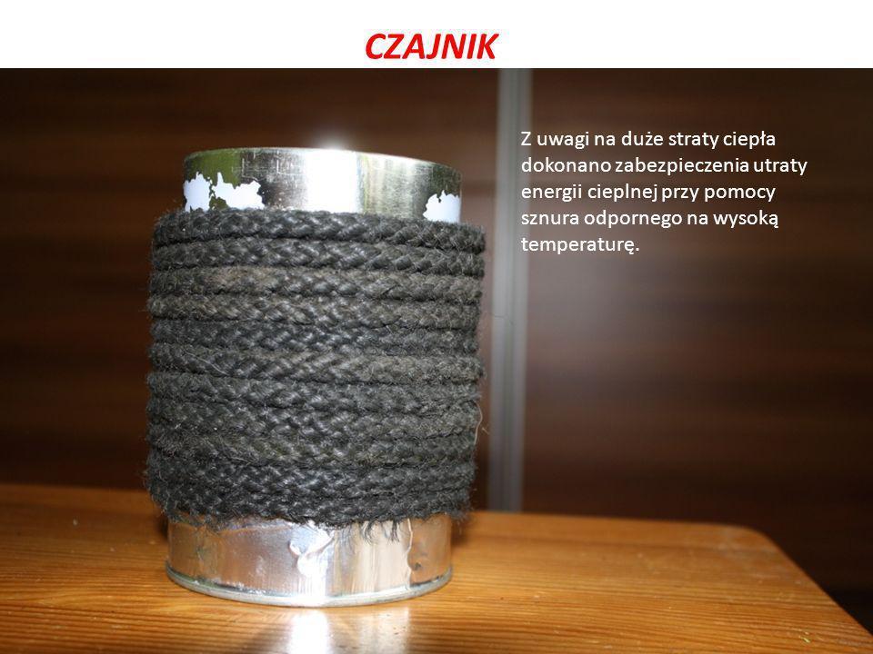 CZAJNIK Z uwagi na duże straty ciepła dokonano zabezpieczenia utraty energii cieplnej przy pomocy sznura odpornego na wysoką temperaturę.