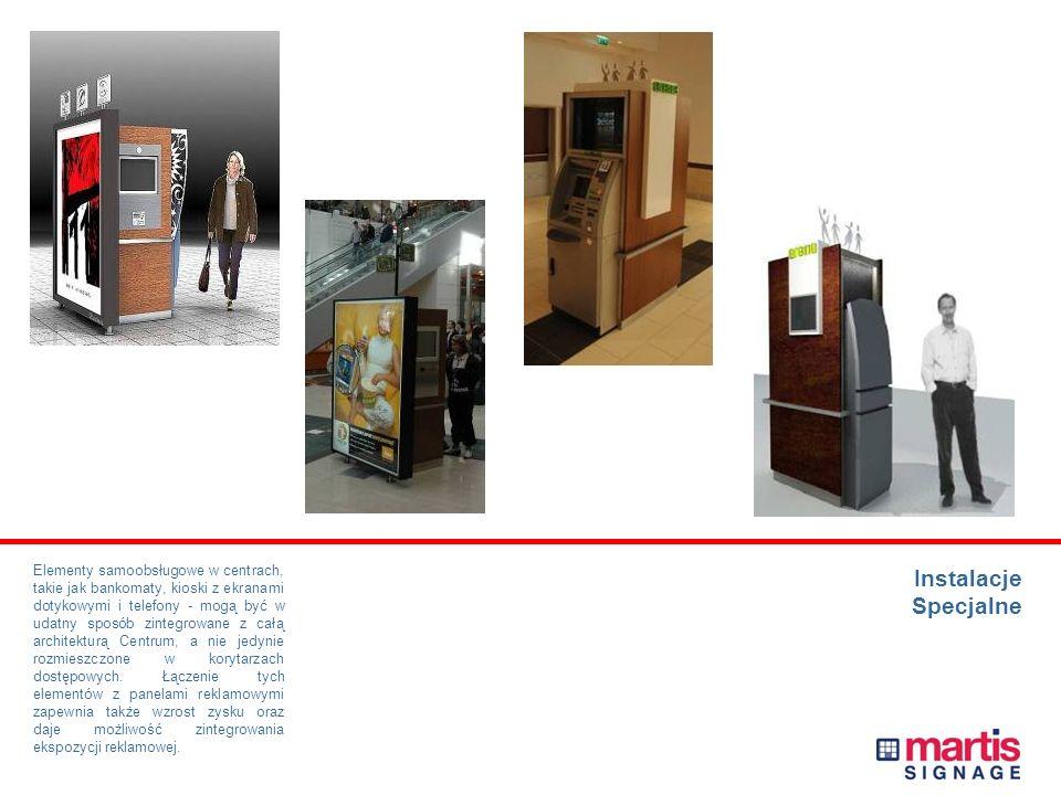 Elementy samoobsługowe w centrach, takie jak bankomaty, kioski z ekranami dotykowymi i telefony - mogą być w udatny sposób zintegrowane z całą architekturą Centrum, a nie jedynie rozmieszczone w korytarzach dostępowych. Łączenie tych elementów z panelami reklamowymi zapewnia także wzrost zysku oraz daje możliwość zintegrowania ekspozycji reklamowej.