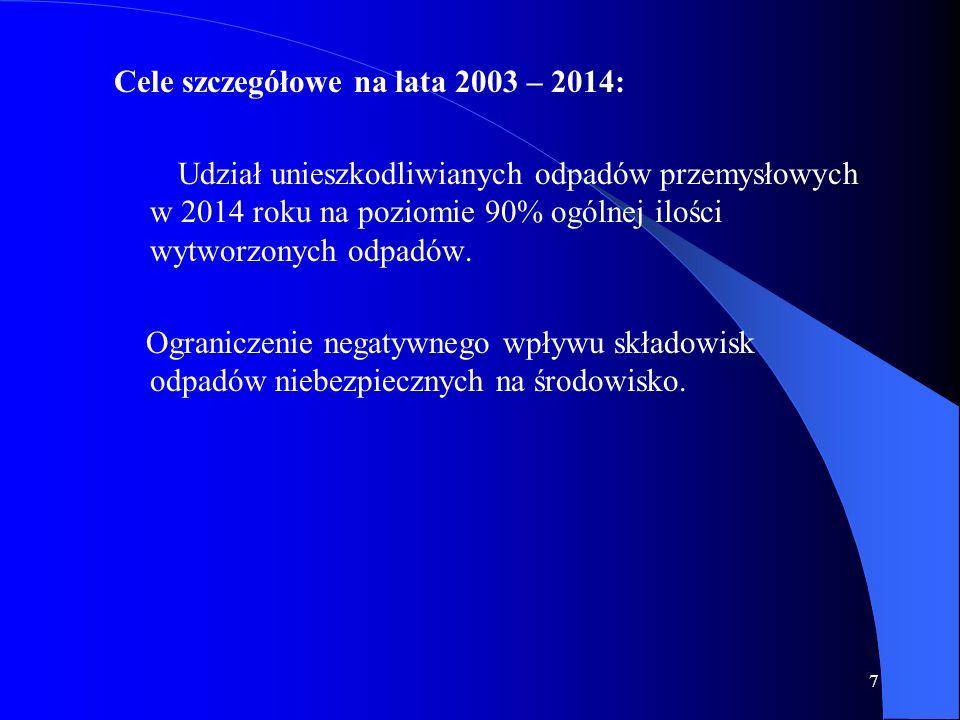 Cele szczegółowe na lata 2003 – 2014: