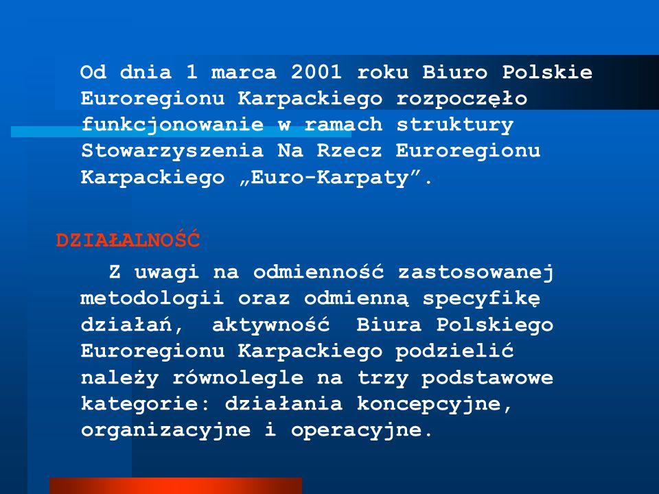 """Od dnia 1 marca 2001 roku Biuro Polskie Euroregionu Karpackiego rozpoczęło funkcjonowanie w ramach struktury Stowarzyszenia Na Rzecz Euroregionu Karpackiego """"Euro-Karpaty ."""