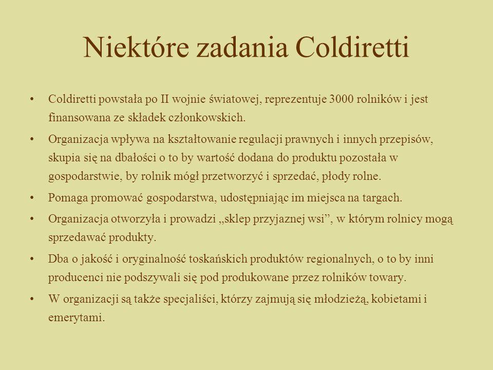 Niektóre zadania Coldiretti