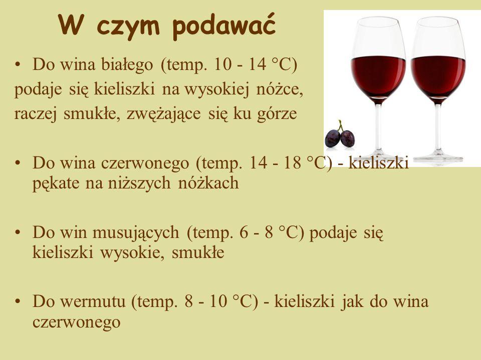 W czym podawać Do wina białego (temp. 10 - 14 °C)