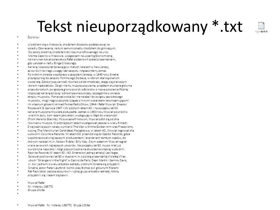 Tekst nieuporządkowany *.txt