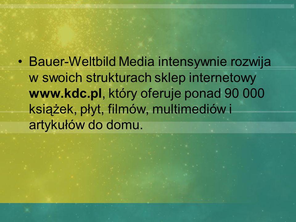 Bauer-Weltbild Media intensywnie rozwija w swoich strukturach sklep internetowy www.kdc.pl, który oferuje ponad 90 000 książek, płyt, filmów, multimediów i artykułów do domu.