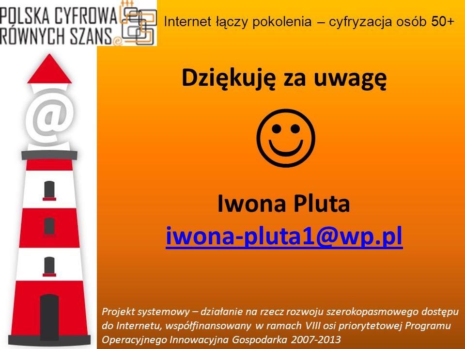 Dziękuję za uwagę Iwona Pluta iwona-pluta1@wp.pl