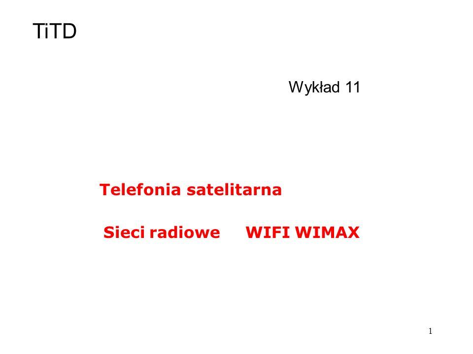 TiTD Wykład 11 Telefonia satelitarna Sieci radiowe WIFI WIMAX